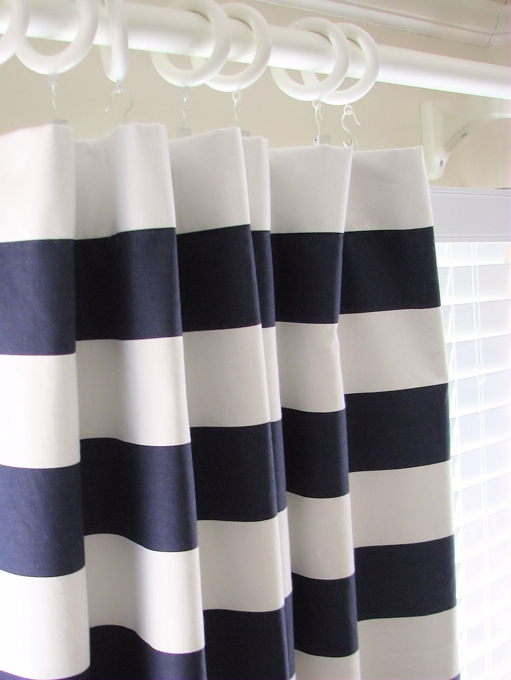 ... Curtains Drapes 50 x 108 Navy Blue and White Horizontal Stripe Rugby