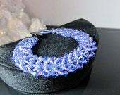 Woven Crystal Bracelet in Periwinkle Blue/Lavender
