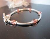 Rose Peach Swarovski Crystal & Sterling Bangle Bracelet