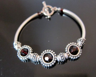Garnet Crystal and Sterling Bangle Bracelet