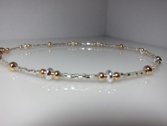 "Reserved for Peggy - 9"" Ankle Bracelet in Silver and Gold"