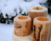 Wood Candle Holders, set of 12 made from Aspen Logs for your Rustic Wedding, Spring Wedding, Summer Wedding, from Naturally Aspen