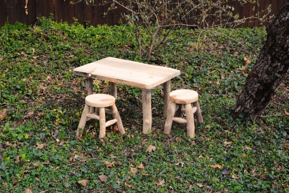 Rustic Wood Table and Stools, made from Aspen Logs, Sustainable Childrens Furniture, Rustic Furniture Naturally Aspen