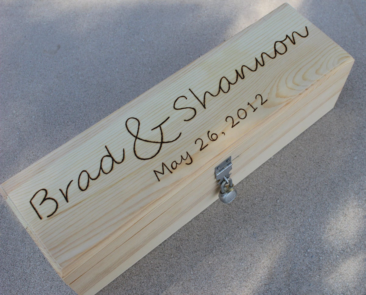 Wedding wine box love letter ceremony silver hardware for Love letter wedding ceremony