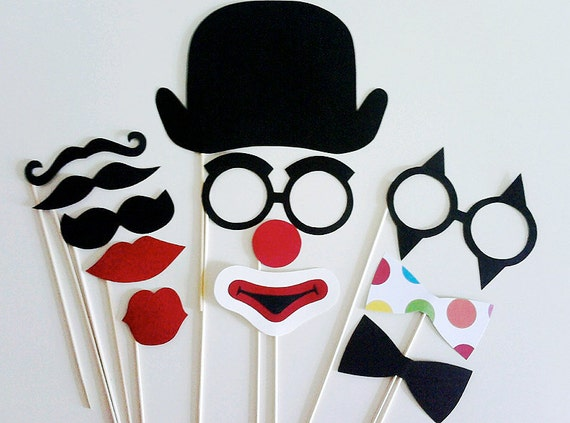 Photo Booth Props - 12  Piece Crazy Clown Kit