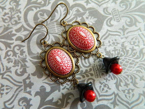 Vintage Earrings Red and Black  - Fair Isle Frippery