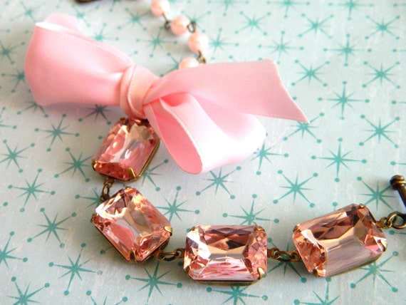 Shabby Romantic Bracelet Vintage Pink Jewels Pearls and Ribbon - Blushing Beauty
