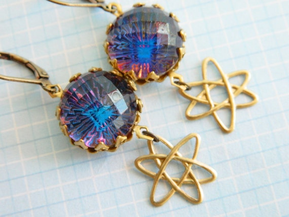 Retro Glass Orb Earrings Vintage Heliotrope Atomic Space Gallaxy - Our Friend the Atom
