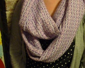 Vintage Woven Knit Fabric Mobius / Infinity Scarf with Lavender, Purple, Pink, Soft Blue and White Print