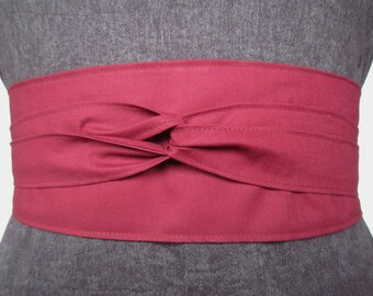 10 Dollars Off Organic Cotton Wrap Belt In Color Wine