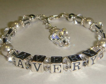 Baby/Toddler/Girl's Birthstone Name Bracelet - Swarovski Pearls & Crystals - Sterling Silver - Personalized - Butterfly or Angel Charm
