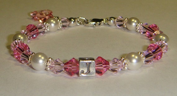 Girl's Pretty In Pink Initial Bracelet - Swarovski Pearls & Crystals - Butterfly Charm - more colors available