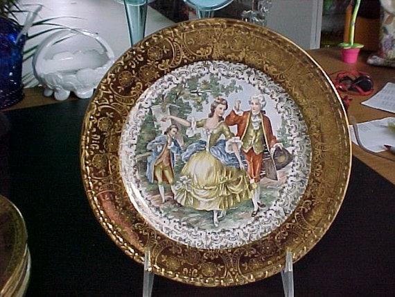 Homer Laughlin Georgian China 22 kt. Gold Dessert Plates Colonial Scene Circa 1943