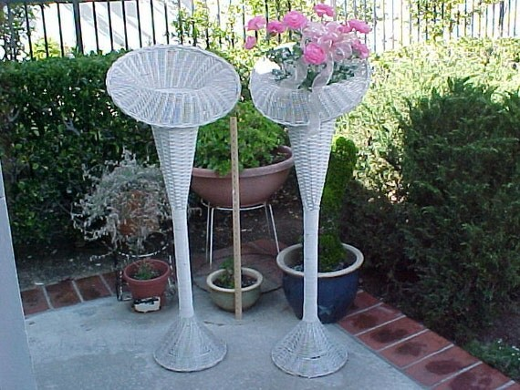 Vintage Shabby Chic Florist Tall White Wicker Basket Fan Wedding Flower Stand - Pick up only.