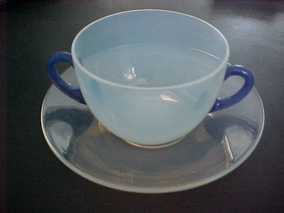 Fry Foval Bouillon Cup and Saucer Pearl Ware with Delft Blue Trim Circa 1920