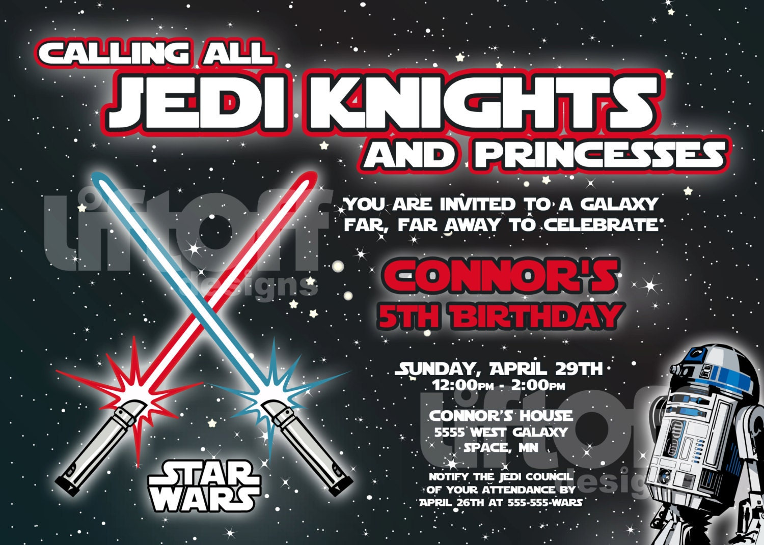 Dynamic image with printable star wars invitation