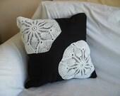 Black Pillow - White Doilies