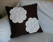 Brown Pillow - Cream Doilies