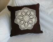 Brown Pillow - Cream Doily