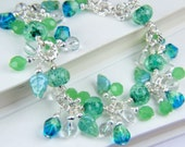 20% off- Christmas in July Sale--- Handmade Lampwork and Crystal Bracelet by the Bracelettree:  A Day on Catalina Island