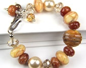 Handmade Sterling Silver and Lampwork Bracelet: A Day at Cape St. Mary's