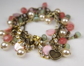 RESERVED FOR LEXIE--Vintage styled, Green, Cherry Quartz, Pearl  Multi-strand Bracelet by the Bracelettree:  A Day in Stratford Upon Avon