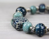 Christmas gift, holiday gift, stocking stuffer, blue  Handmade Lampwork and Silver Bracelet:  A Day at Chautauqua Lake