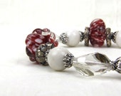 Sterling Silver Red White Gray Crystal Lampwork Bracelet: A Day at West Quoddy Lighthouse