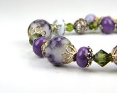 Reserved for Clare, Easter, Handmade Lampwork and Sterling Silver Bracelet:  A Day in Provence