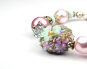 Pink and Mint, Floral,  Lampwork and Pearl Bracelet:  A Day at High Tea in the Empress Hotel