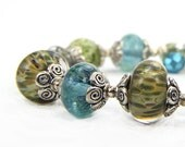 Gift, Mothers Day. Turquoise, Lampwork and Crystal Bracelet: A Day in Monterey Bay