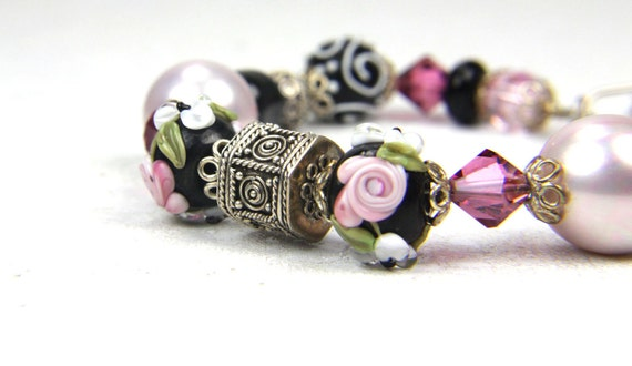 Valentine, Valentines day, Easter, Pink and black Lampwork and Sterling Silver Bracelet: A Day at Aullwood Garden