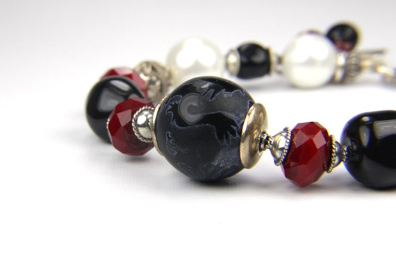 Autumn Fall Black Red Sterling Silver and Gemstone Bracelet: A Day on the Orient Express