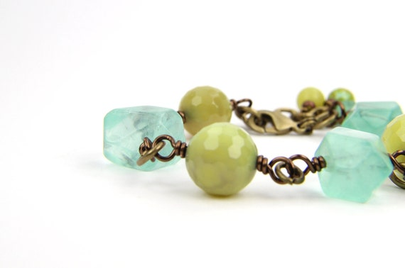 Bracelet Autumn Chartreuse Aqua Green Gemstone:  Beach Walk