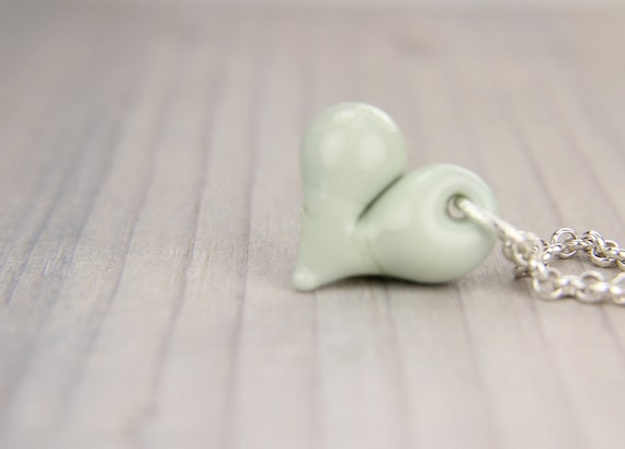 Mothers Day, Easter, Seafoam Green Lampwork Heart Necklace