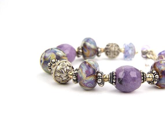 Purple Graduation Wedding Gift Sterling Silver Bracelet:  Lavendar Fields