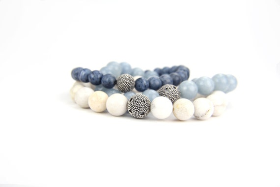 Denim Blue Gift Gemstone Sterling Silver Stacking Bangles:  Ocean Waves