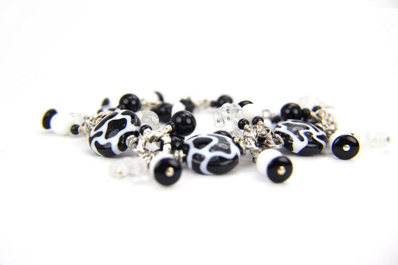 Black White Safari Cow Spotted  Lampwork Bracelet: A Day at the Texas State Fair