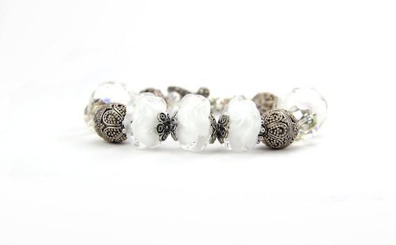 Sterling Silver Lampwork Bracelet Christmas Holiday Gift Bridal : Bridal Veil Falls