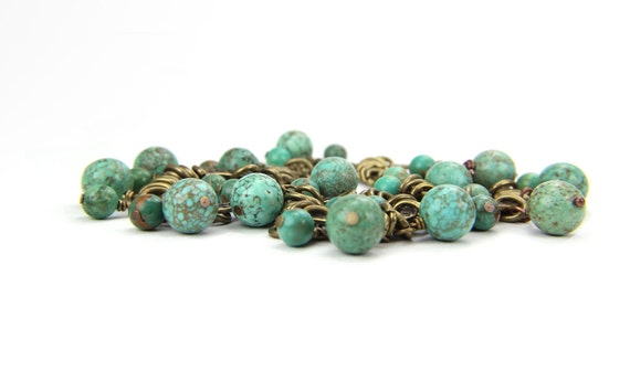 Autumn Teal Turquoise Gemstone Southwest Rustic Charm Bracelet:  A Day at Chichen Itza