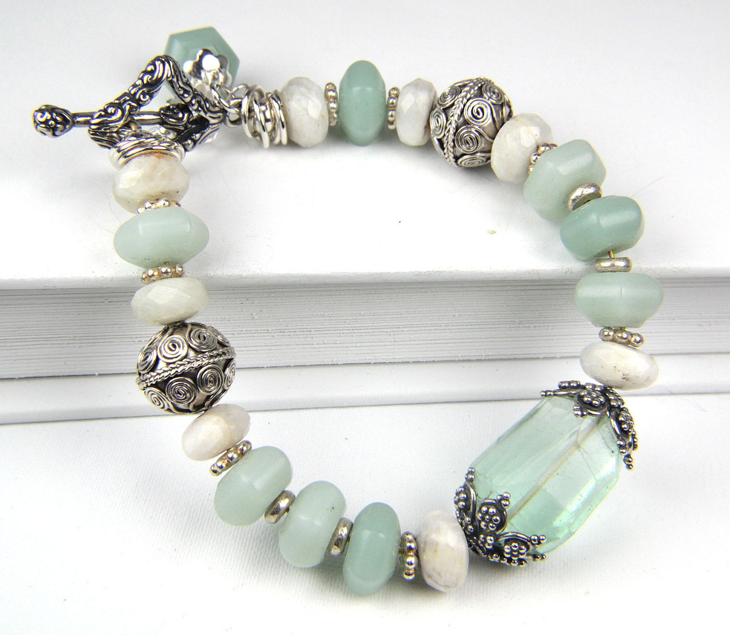 handmade sterlings silver and gemstone bracelet by the