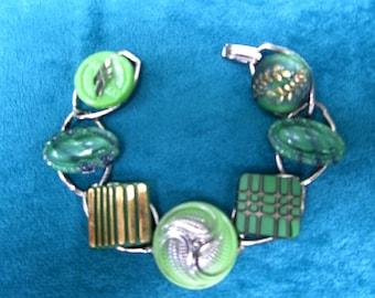 Vintage Czech Glass Button Bracelet