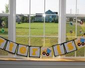 Dump Truck Birthday Banner, Personalized, Boy, Yellow, Black-Made to Order