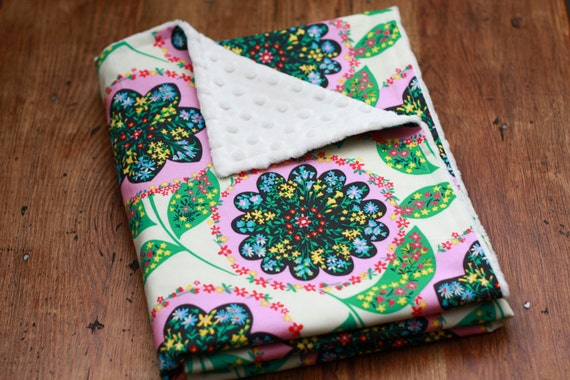 Baby Blanket - Amy Butler Lark and Ivory Minky Dot