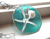 Beach Starfish, Shell, Silver, Crystal Turquoise necklace