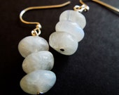 MOONSTONE EARRINGS - simple stacked moonstone gems, tri-stack, boho chic