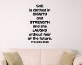 Young wonan wall decal, bible verse wall art, Proverbs 31