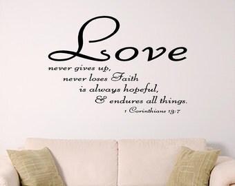 bible verse wall art, Love wall decal, 1 Corinthians