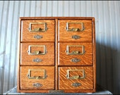 v i n t a g e wood library card file cabinet