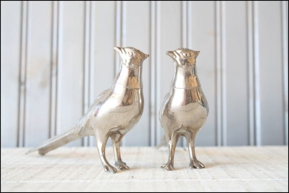 Silver Pheasant Pair // S&P Shakers